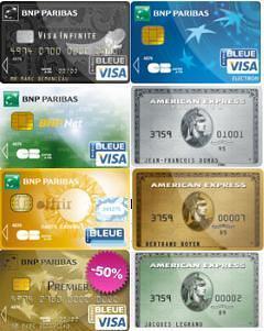 quelques cartes bancaires de la BNP Paribas